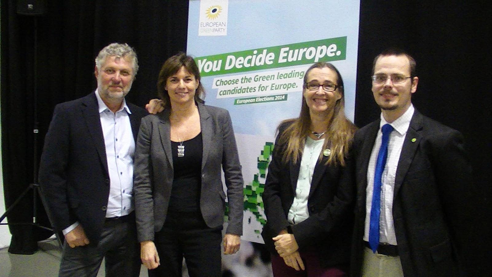 Miljöpartiets EU-valskandidater Peter Eriksson, Isabella Lövin, Bodil Ceballos och Max Andersson.